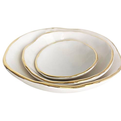 Handmade Pinch Pot Nesting Bowls with Gold Edge