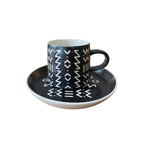 Black & White Zig Zag Mug and Plate Set