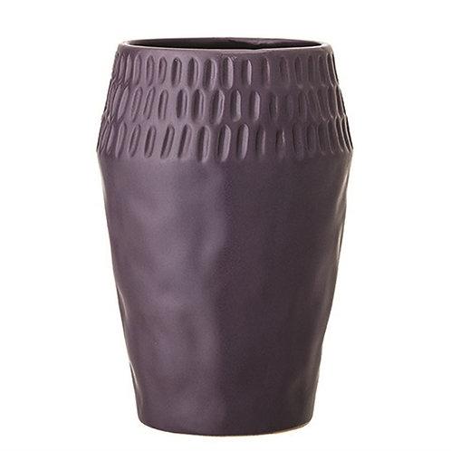 Stoneware Vase in Aubergine