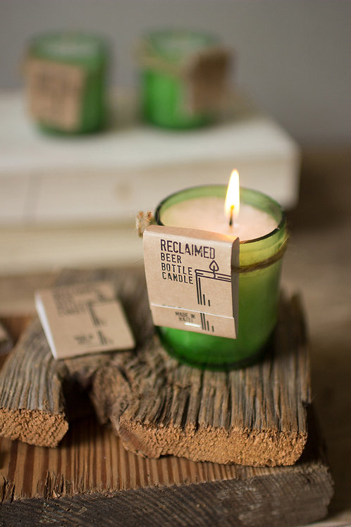 Handmade Haitian Recycled Green Glass Bottle Candle