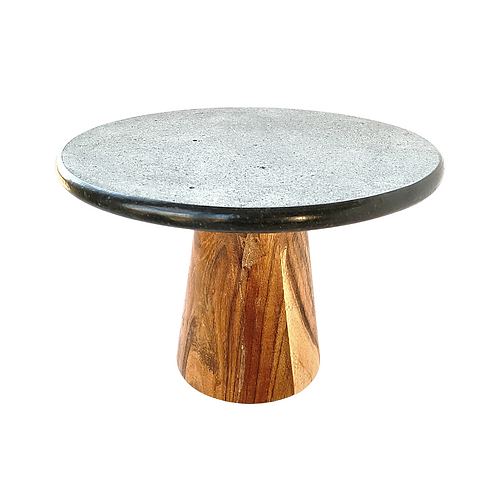 Lava Stone and Wood Cake Stand