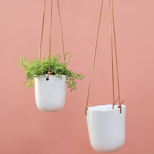 White Ceramic Planter w/ Leather Hanger