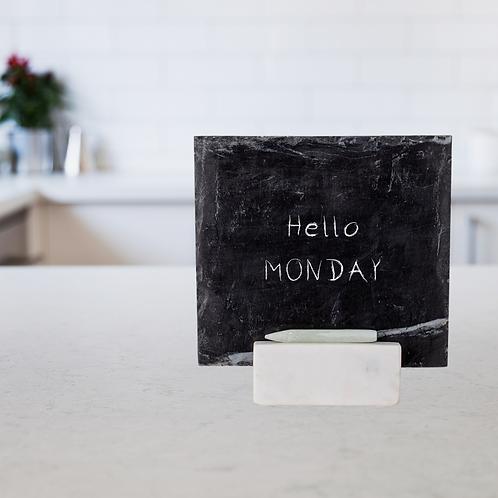 Tabletop Slate Chalkboard + Marble Base Set (w/ hand-carved chalk)