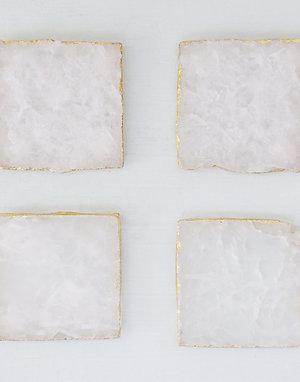 Rose Quartz Coaster Set with Gold Foil Edge (set of 4)