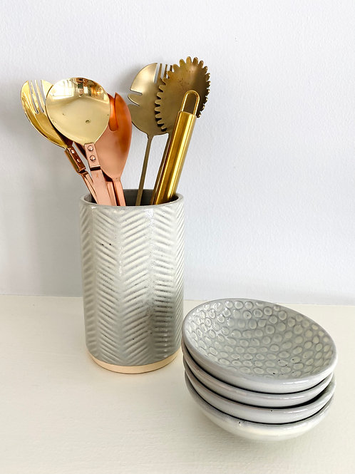 Grey Debossed Stoneware Crock + Utensil Holder