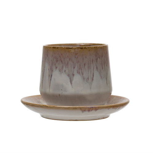 Stoneware Cup + Saucer Set