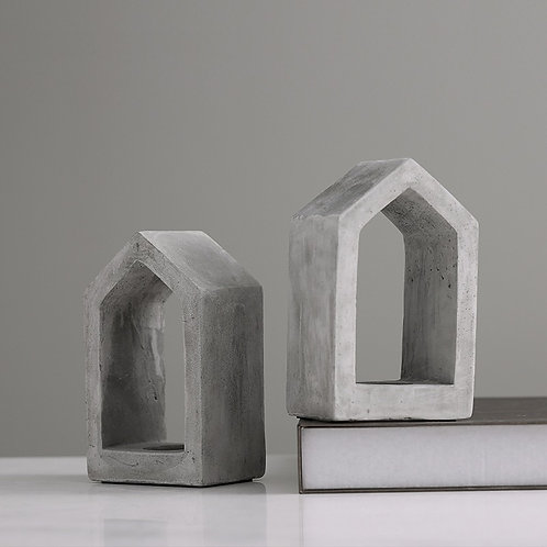 Concrete House Candle Holder