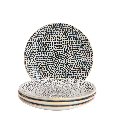 Black Patterned Stoneware Side Plates with Gold Rims (set of 4) | Kitchen &