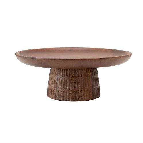 Hand-Carved Wood Cake Stand - Walnut