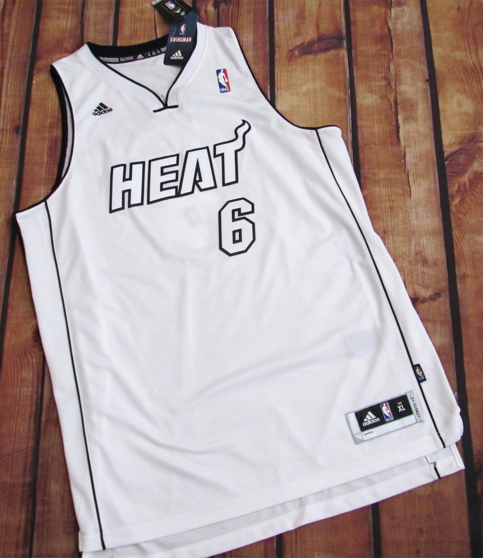 Adidas Miami Heat Lebron James White Hot Jersey | GameAuthentics.com