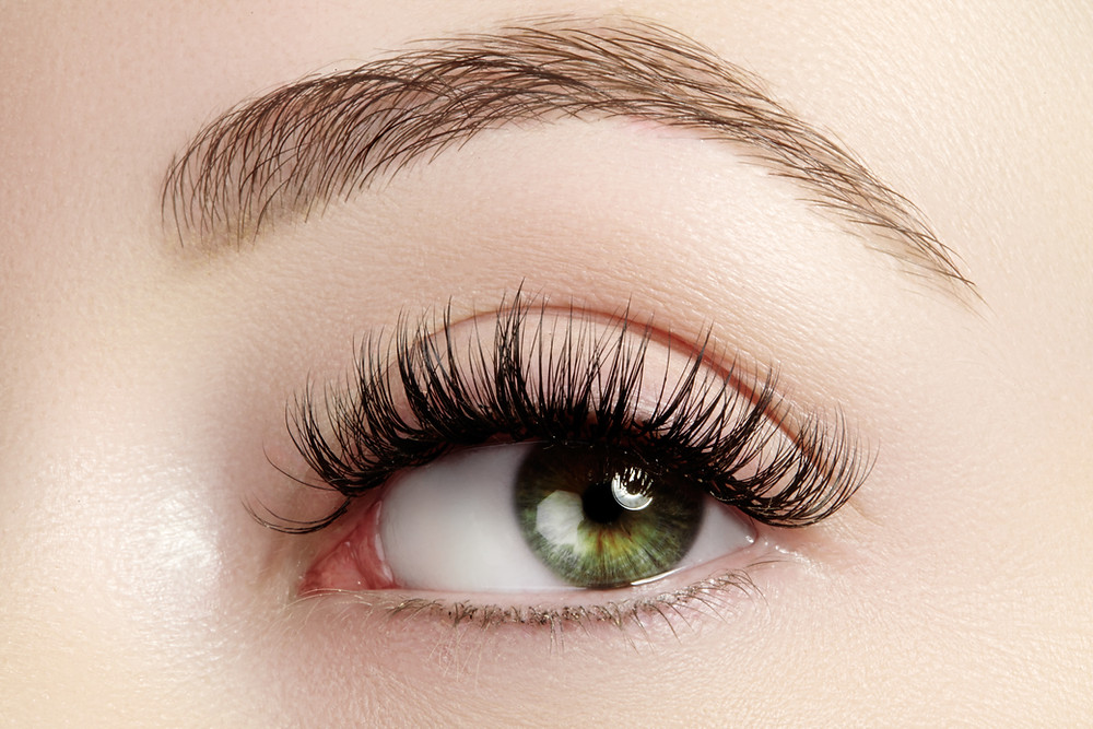 A close up of a gorgeous green eye with gold flecks. Super clean and simple makeup with top lashes.