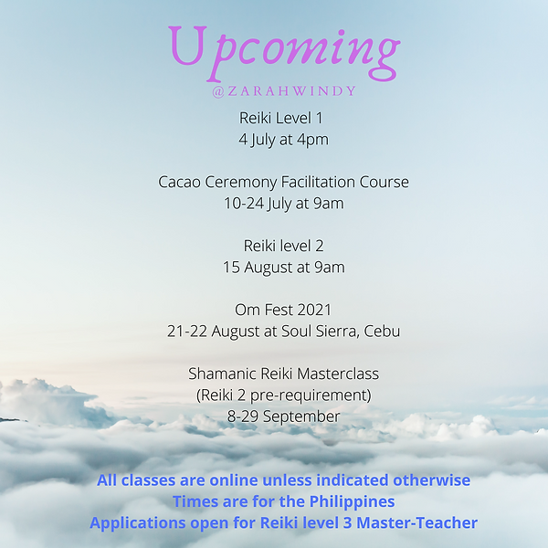 Reiki Level 1 4 July at 4pm Cacao Ceremo