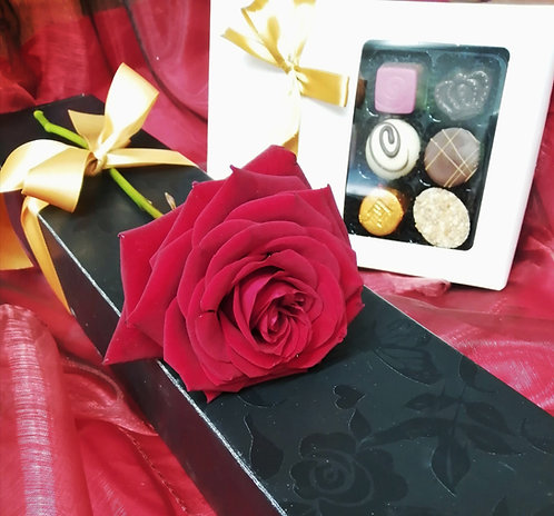 Single Rose and chocolates
