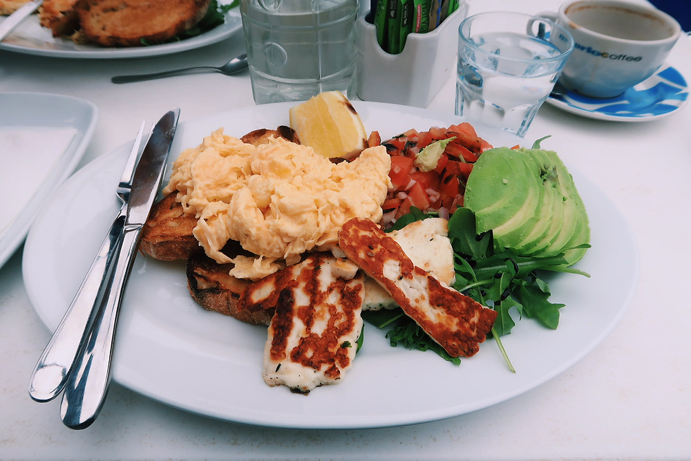 Vegetarian breakfast at Cafe Aqua