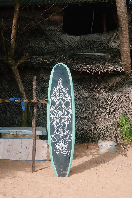 Pretty surfboard on Hikkaduwa beach