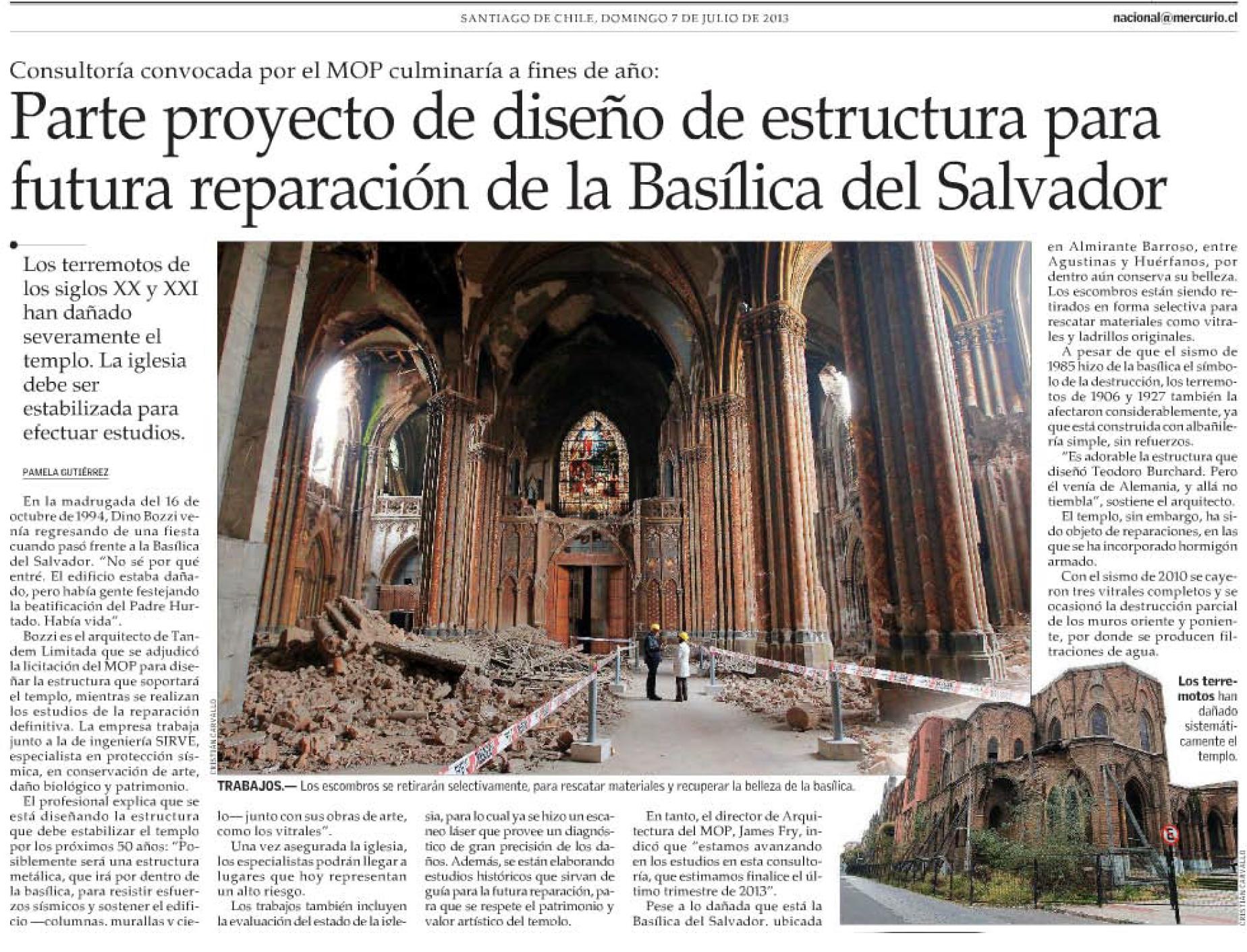 Parte proyecto de diseño de estructura para futura reparación de la Basílica del Salvador.