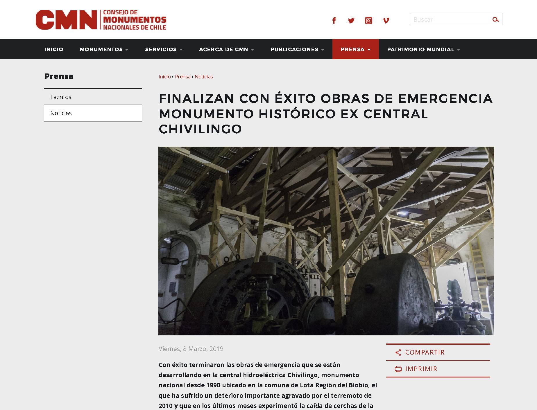 Finalizan con éxito obras de emergencia Monumento Histórico Ex Central Chivilingo