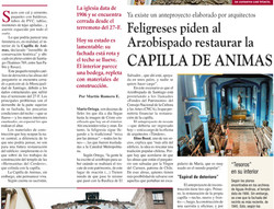 Feligreses piden al Arzobispado restaurar la Capilla de Ánimas.