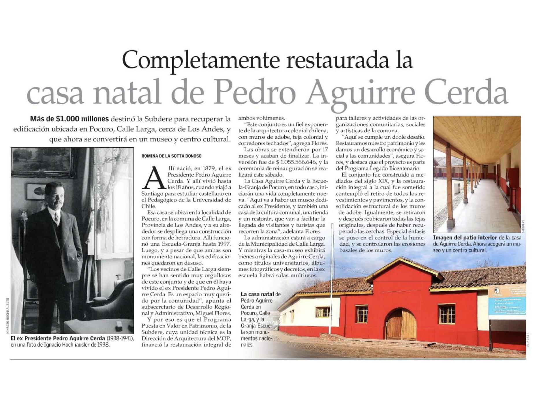 Completamente restaurada la casa natal de Pedro Aguirre Cerda.