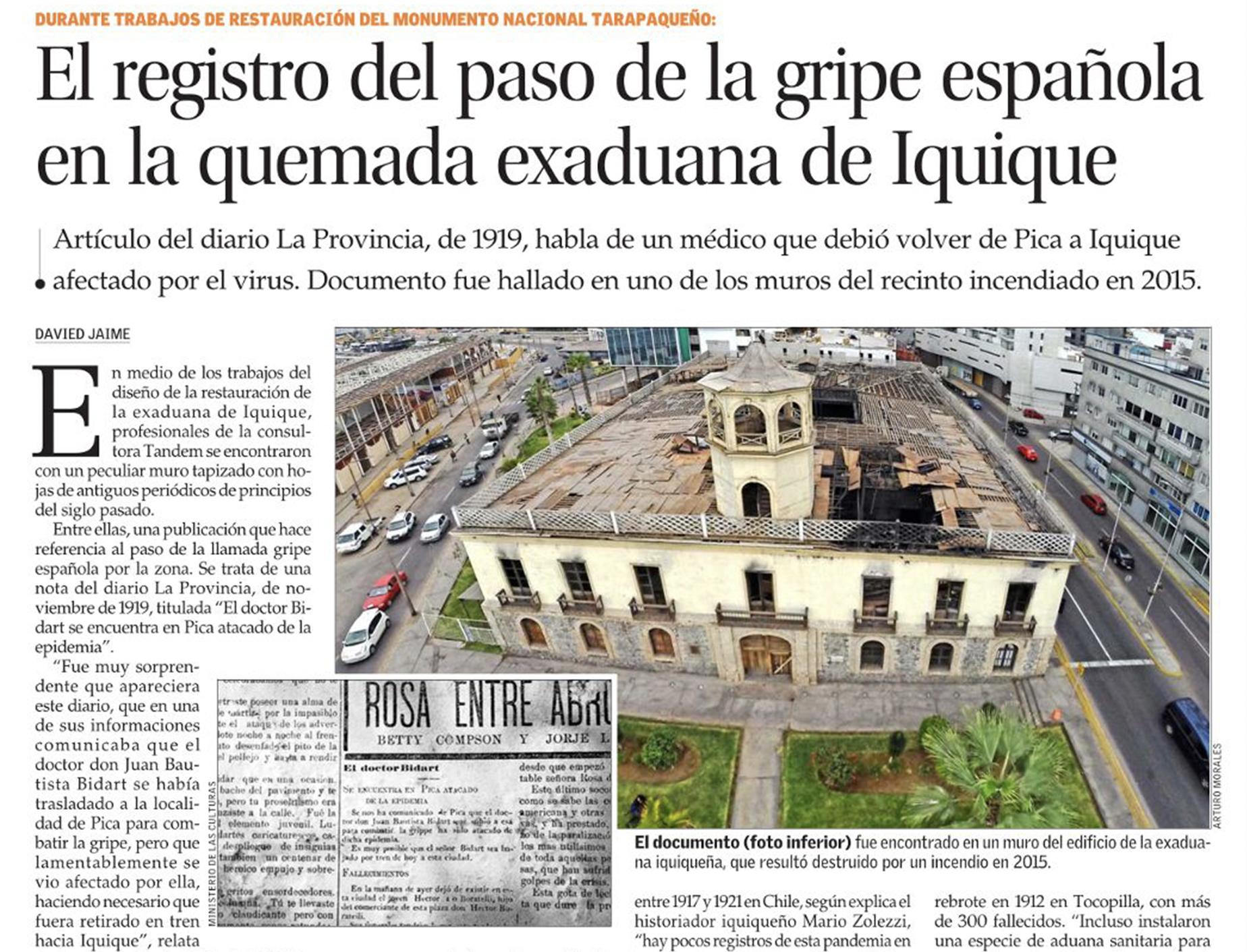 El registro del paso de la gripe española en la quemada exaduana de Iquique