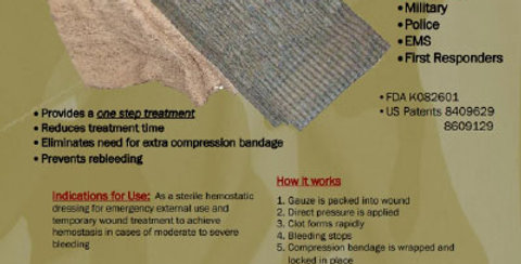 "UltraClot One-Step- 6"" x 6"" pad with 4.5"" x 4.1 yds. Compression Bandage"
