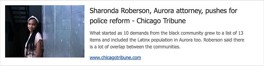 Sharonda Roberson, Aurora attorney, pushes for police reform