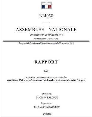 Rapport Assemblée Nationale Conditions abattage animaux de boucherie