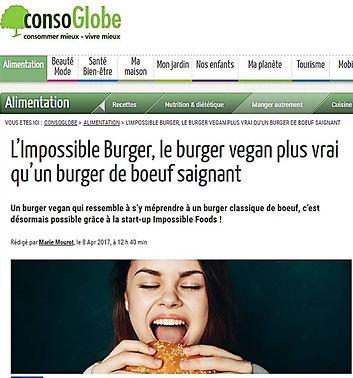 Conso Globe l'impossible burger vegan