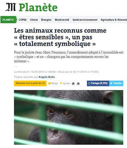 Annimaux reconnus êtres sensibles_Le Monde