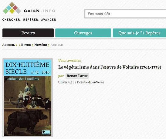 Le végétarisme dans l'oeuvre de Voltaire CAIRN info