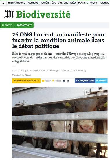 Biodiversité_Le Monde_ONG_Condition animale