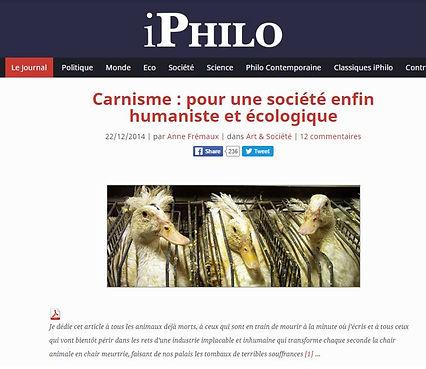 Carnisme pour une société enfin humaniste et écologique