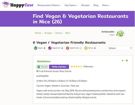 Restaurants vegan et végétariens à Nice