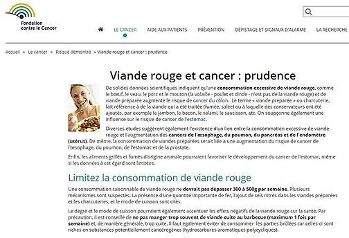 Fondation contre le cancer_Viande rouge et cancer
