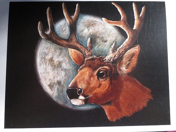 Deer With Moon: BLANK GREETING AA