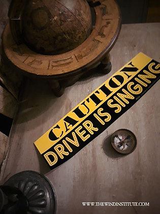 """CAUTION Bumper Sticker 11 1/2"""" x 3"""""""