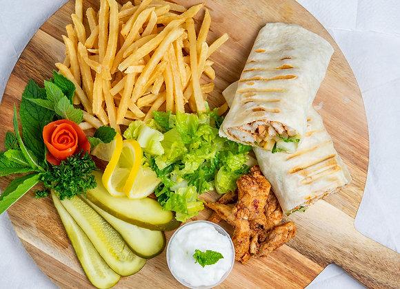 sharwama plate with fries