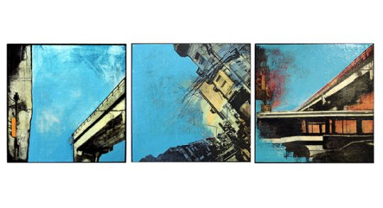 _Blue Skies_ (triptych), 24X24_ each, ac