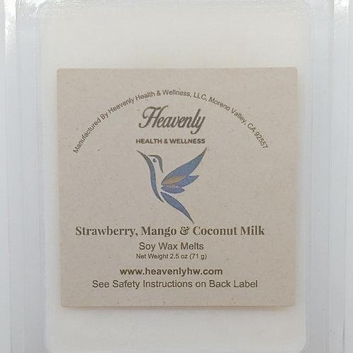 Strawberry, Mango & Coconut Milk- 2.5oz Handcrafted, Soy Wax Melts