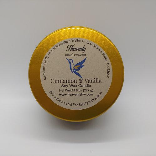 Cinnamon & Vanilla- 8oz Handcrafted, Soy Wax Candle
