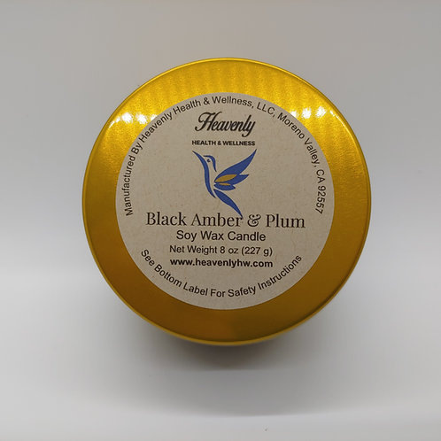 Black Amber & Plum- 8oz Handcrafted, Soy Wax Candle
