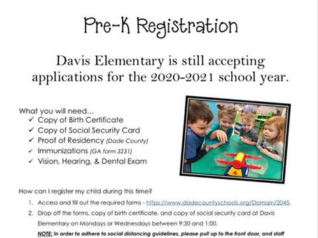 Davis Elementary accepting apps for 2020-21 School Year