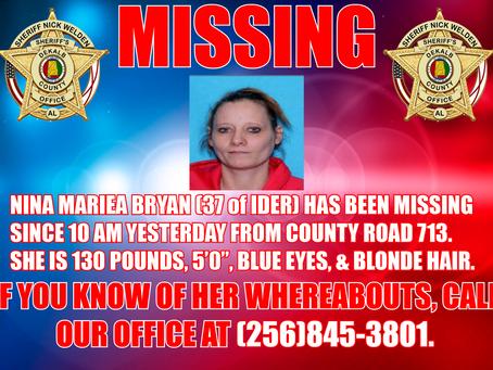Missing Person: Nina Bryan of Ider