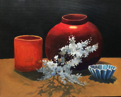 """Chinese Jar & Candle, 20x16"""", Sold"""