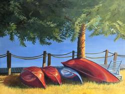 """Huddled Canoes 24""""x18"""""""