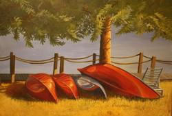 """Huddled Canoes, 24x18"""""""