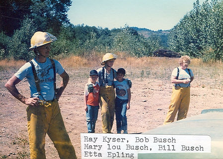 Historical photo Ray Keyser, Mary Lou Busch, Etta Epling during fire training