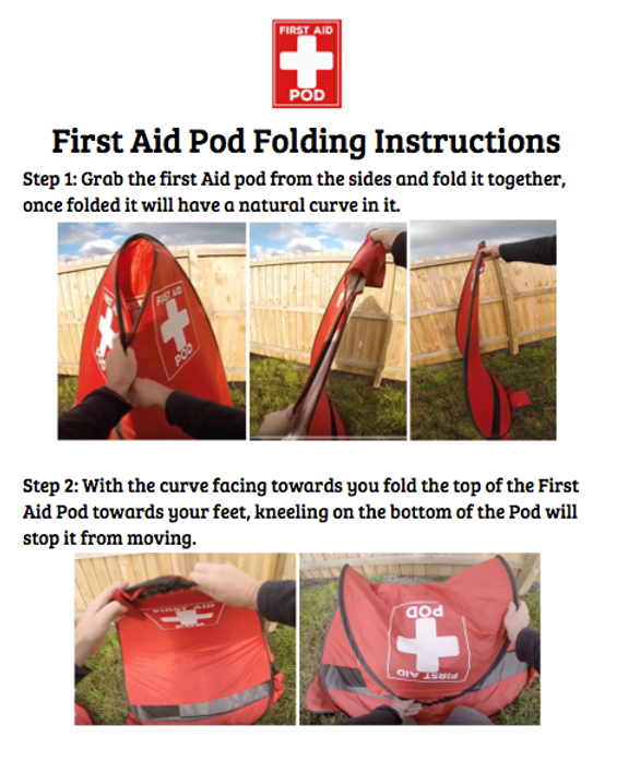 First Aid Pod Folding Instructions, guidance, privacy, first aid kit, shelter, emergency
