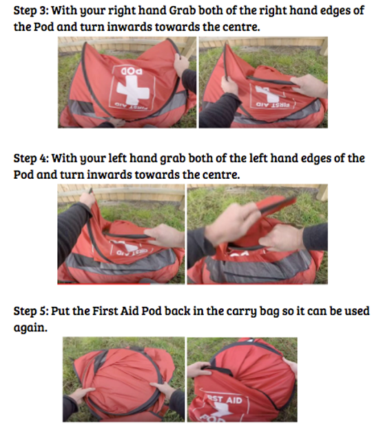 first aid, privacy screen, shelter, first aid screen, pop up tent, emergency tool, cpr, first aid kit,First Aid Pod Folding Instructions, guidance, privacy, first aid kit, shelter, emergency