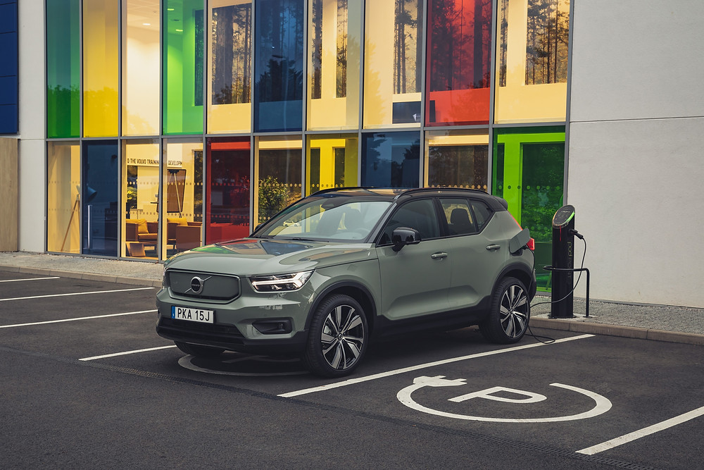 Volvo XC40 recharging in Swedish parking bay